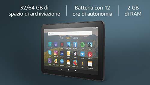 Tablet Fire HD 8   Schermo HD da 8, 64 GB (Nero) - Con pubblicit