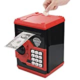 Totola Piggy Bank Electronic Mini ATM for Kids Baby Toy, Safe Coin Banks Money Saving Box Password Code Lock for Children,Boys Girls Best Gift (Red/Black)