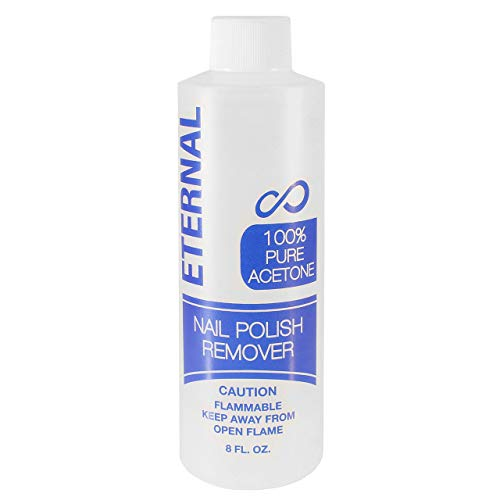 Eternal 100% Pure Acetone – Quick Professional Ultra-Powerful Nail Polish Remover for Natural, Gel, Acrylic, Shellac Nails and Dark Colored Paints (8 FL. OZ.)