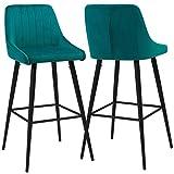 Modern Bar Stools,Velvet Upholstered Barstools with Back,Set of 2 Bar Chairs for Kitchen Living Room, Green