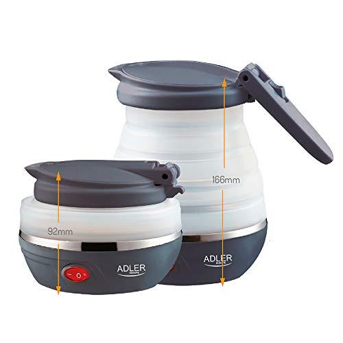 Adler AD1279 Elektrischer Wasserkocher, faltbar, 0,6Liter, 750W, BPA-frei, Silikon