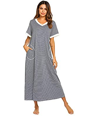 SOFT FABRIC TO WEAR: 30% Cotton, 65% Nylon, 5% Spandex,stretchy, soft, lightweight, Comfortable nightgown to wear STAY PERFECTLY COOL: Never have to worry about nightgown feeling too hot or too cold when it comes to bedtime thanks to the lightweight ...