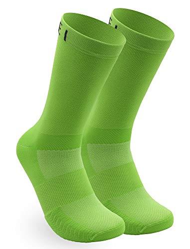 NORTEI Calzini Lunghi da Ciclismo, MTB e Corsa per Uomo e Donna, Verde - Infinity Green (M (40-42))