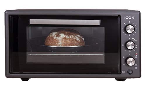 ICQN 50 Liter Minibackofen | 1400 W | Umluft | Pizza-Ofen | Doppelverglasung | Drehspieß | Timer | inkl. Backblech Set | Elektrischer Mini Ofen | 40°-230°C | Emailliert Black | Anthrazit