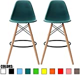 2xhome - Set of Two (2) - Teal - 28' Seat Height Chair Style DSW Molded Plastic Bar Stool Modern Barstool Counter Stools with Backs and armless Natural Legs Wood Eiffel Legs Dowel-Leg