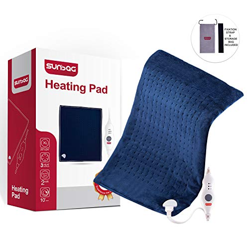 Sunbag King Size 20' x 24' Dry/Moist XXLarge Electric Heating Pad with Fast-Heating, Auto Shut Off, 3 Heat Settings,Pain Relief for Back, Knee, Neck and Shoulder, Convenient Storage Bag