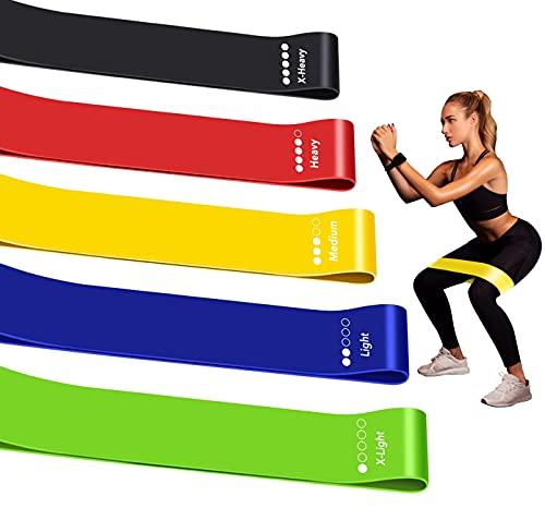 Elastiche Fitness, [Set di 5] Bande di Resistenza Fitness, Bande Elastiche di Resistenza, 5 Livelli di Resistenza, Lattice Naturale, Yoga, Pilates, Riabilitazione, Allenamento, Guida di Esercizi