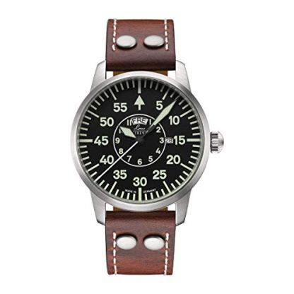 Laco/1925 Men's 861806 Pilot Classic Round Stainless Steel Watch with Brown Leather Strap