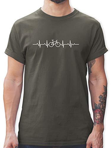 Fahrzeuge Fahrrad Bagger und Co. - Herzschlag Fahrrad - L - Dunkelgrau - t Shirt mit Fahrrad Motiv -...
