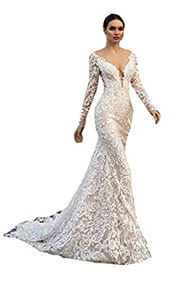 Women's V Neck Backless Lace Mermaid Wedding Dresses for Bride with Removable Train Long Sleeve Tulle Bridal Gown This wedding dress is elegant¡gorgeous and charming. It is great for beach wedding, garden wedding or a chapel wedding etc. Size: Please...