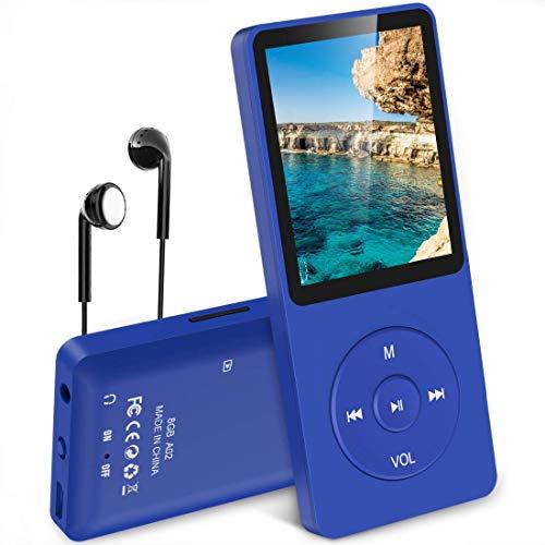 AGPTEK Mp3 Classique 8Go Ultra-Longue Autonomie jusqu'à 70 Heures de Lecture Musique avec Ecran de 1.8 Pouces, Petit Lecteur MP3 Sport pour Enfant/Adulte(Slot Carte mémoire jusqu'à 128Go)-Bleu Foncé