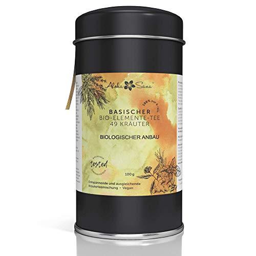 Aloha Sana | Basentee Bio aus 49 Kräutern (lose) | 100g Kräutertee in luftdichter Aromadose | Energetisch getestete Teemischung | Brennnessel, Brombeerblätter, Fenchel, Salbei, Süßholzwurzl und mehr