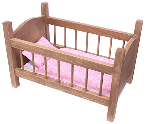 Amish-Made Rebekah's Collection Wooden Doll Crib for 18' Dolls, Natural Harvest Stained Finish