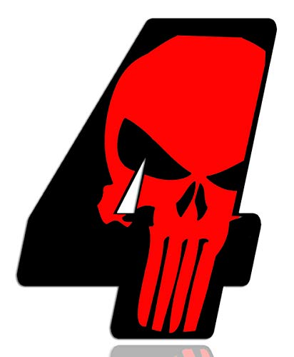 Biomar Labs® Número 4 Punisher Calavera Vinilo Adhesivo Pegatina Coche Auto Motocross Moto Sport Start Racing Tuning N 354