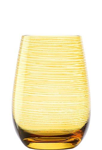 STLZLE LAUSITZ Bicchieri TWISTER 465ml Ambra I Set di 6 bicchieri I Set di bicchieri lavabili in lavastoviglie I infrangibili I bicchieri universali per acqua, succhi e long drink