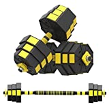 2-in-1 PVC Dumbbell Barbell Set, Free Weights Adjustable Dumbbell with Anti-Slip Metal Handle, All-Purpose Fitness Workout Exercise Training for Men, Women, Beginners, Home, Gym, Office (Yellow)