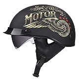 TKUI Demi Casque de Moto, Casques Harley Vintage à Face Ouverte avec dégagement Rapide de Lunettes...