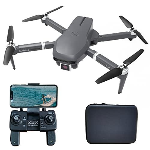 le-idea IDEA31 Drone GPS Pieghevole Professionale con Telecamera 4k HD, Quadcopter RC 5GHz con Motore senza spazzole, Posizionamento del Flusso Ottico, Modalit senza Testa per Adulti/Principianti
