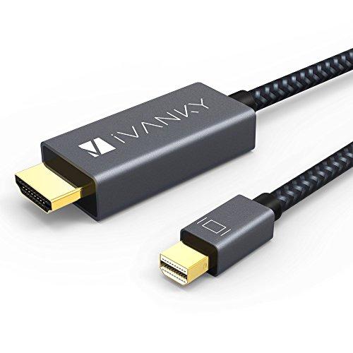 iVANKY Mini DisplayPort auf HDMI Kabel, Nylon Thunderbolt auf HDMI Kabel 1080P, geeignet für MacBook Air/Pro, Surface Pro, Monitor, Projektor und weiter - 2M