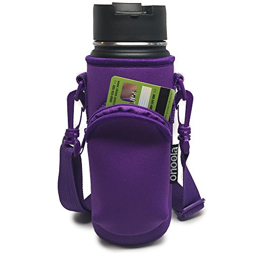 Onoola 18 oz (Also Fits 16, 20 & 21 oz) Pocket Carrier for Hydro Flask Type Bottles with Adjustable Straps (Neoprene Sleeve/Pouch) Purple
