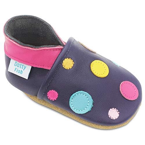 Dotty Fish Zapatos de Cuero Suave para bebés. Antideslizante. Lunares de Color Azul Marino. 2-3 Años (25 EU)