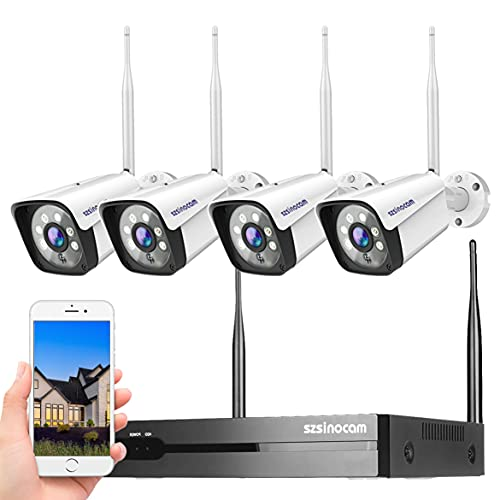 8CH 1296P Full HD Kit Telecamera Videosorveglianza WiFi da Esterno, Sistema di Telecamere Sorveglianza H.265 Con 4 Telecamere,Visione Notturna,Rilevamento Del Movimento,Impermeabile IP66,Plug & Play