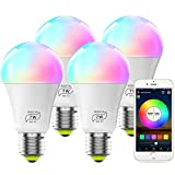 MagicLight Smart WiFi Bulb No Hub Required, Dimmable Multicolor E26 A19 7W (60w Equivalent) RGBCW LED Smart Light, Works with Alexa Google Home and Siri (4 Pack)