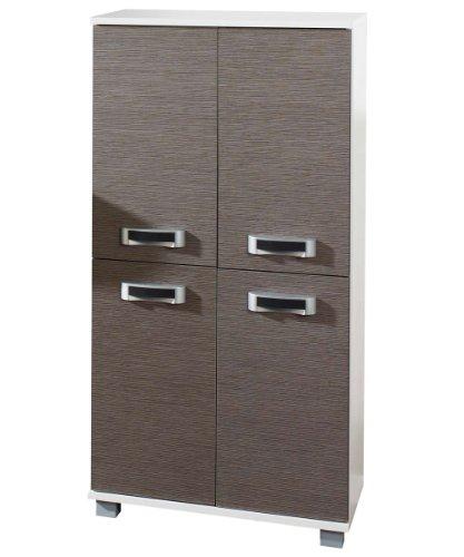 lifestyle4living Waschbeckenunterschrank in Eiche grau Nachb. mit Korpus in weiß perl, mit 2 Türen, 1 E-Boden, 1 K-Boden und 4 Rollen, Maße: B/H/T ca. 60/63,5/32,5 cm