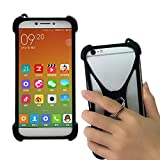 Universal Soft Silicone Black Case for Unimax UMX U683CL Ans Ul40 UL50 L50 U452tl U683CL U504TL U673c Phone Stand Ring Holder Case Cover for Samsung Galaxy S10 S9 S8 S7 S6 Asus ZenFone V Live V500KL