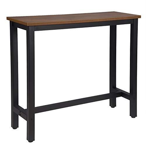 WOLTU BT17dc Tavolo da Bar Rettangolare Alto Tavolino per Cucina in Metallo Legno 120x40x100 cm