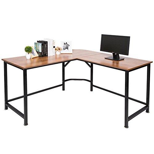 Topsky L-förmige Schreibtisch 140x140cm mit 60cm Tief Abgeschrägtes Design Studie Tisch (Eiche braun)