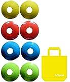 Aoakua 今までになかった フラット コンパクトな ディスク マーカーコーン 収納袋付 8枚(全4色-各2枚)