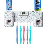 Toothbrush Holder Wall Mounted Toothbrush Holder Hand Free Toothpaste Dispenser Super Sticky Suction Pad for Ceramic Tile Wall Mounted Kids Toothpaste Squeezer for Bathroom Accessories Kit