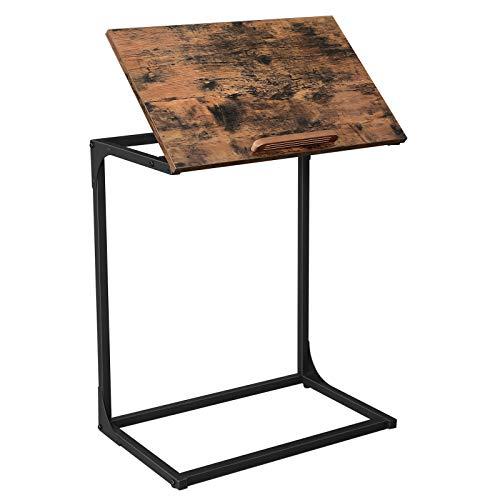 VASAGLE Tavolino da Divano, Tavolino Laptop con Piano dAppoggio Inclinabile, Struttura Resistente in...