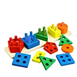 Wooden educational sorting and stacking toy - Learn color and shape recognition – puzzle blocks toy for toddlers – preschool Children game – Kids Montessori education