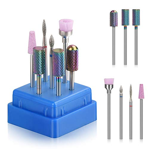 Bulex 7pcs Nail Drill Bits for Acrylic Nails, Professional Tungsten Carbide 3/32 Little Nail Drill Bit Set for Gel Nails Cuticles