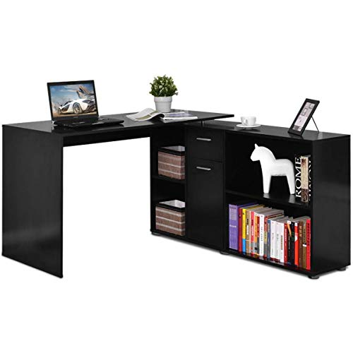 Tangkula Rotating L Shaped Desk, Large Wood Computer Desk Home Office...