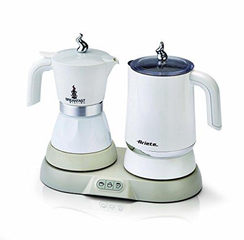 Ariete 1344 Breakfast Station - 3 prodotti in 1: Moka-Bollitore-Montalatte a caldo e freddo, 500W, 4/2 tazze, Mantenimento caff in caldo, 5 funzioni, Bianco