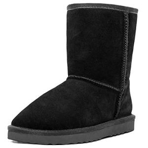 MUSSHOE Winter Boots for Women Classic Snow Shoes Waterproof Cow Suede Leather Slip on Booties Fur Lined Warm Shoes Comfortable Boots