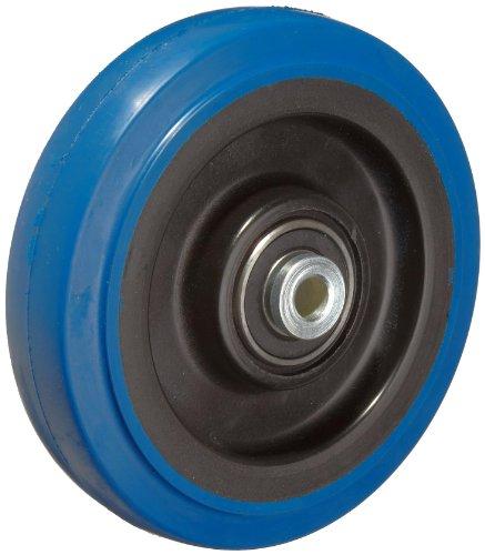 RWM Casters Signature Premium Rubber Wheel, Precision Ball Bearing, 250 lbs Capacity, 4' Wheel, Dia, 1-1/4' Wheel, Width, 1-5/8' Plate Length