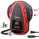 TEROMAS Tire Inflator Air Compressor, Portable DC/AC Air Pump for Car Tires 12V DC and Other Inflatables at Home 110V AC, Digital Electric Tire Pump with Pressure Gauge (Red)