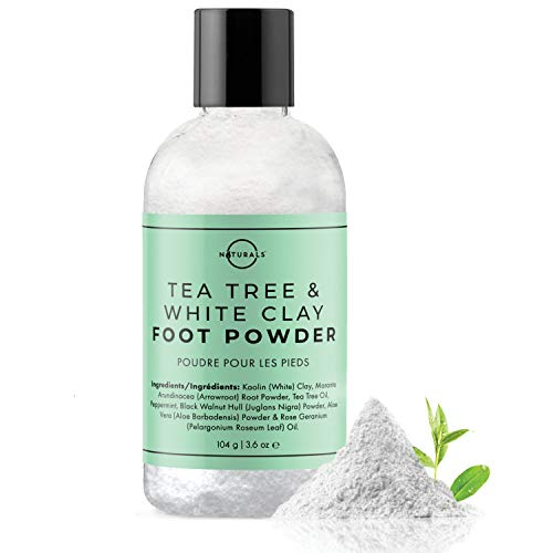 O Naturals Tea Tree Oil Kaolin Clay Foot Powder. Natural Deodorant for Men & Women Anti-Fungal Athlete Foot Care Toenail Treatment Peppermint Oil Aloe Vera Travel Size Body Nails Powder No Talc. 100g