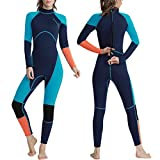 OMGear Wetsuit Men Women Youth 3mm Neoprene Full Body UV Protection One Piece Long Sleeves Scuba Diving Suits Back Zipper for Scuba Diving Surfing Snorkeling Swimming Water Sports(Green & Orange,S)