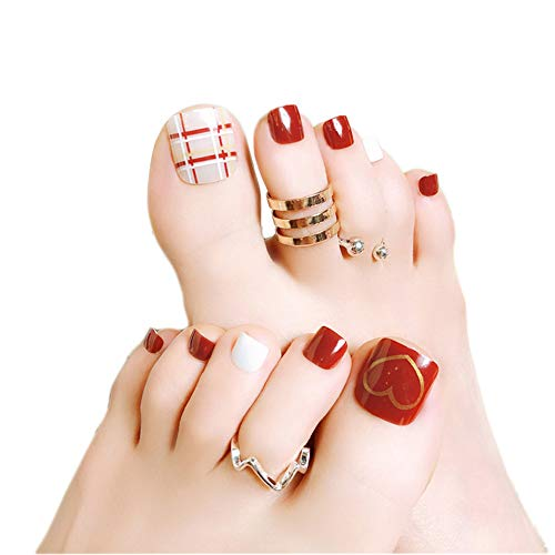 24pc Cute Love Heart Design Summer Toe False Nail Rhinestone Pre-Design Full Cover Red Grid Foot Artificial Fake Nails with Glue