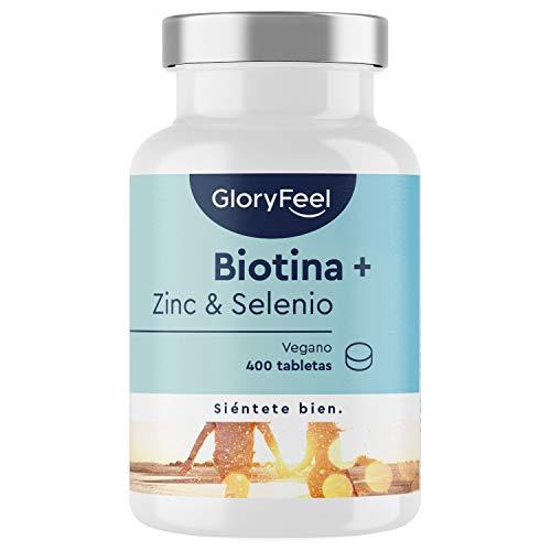 GloryFeel Biotina + Zinc + Selenio - 400 Comprimidos Veganos