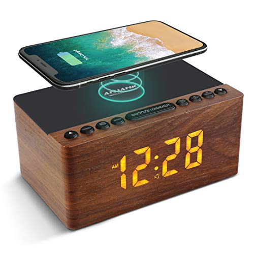 ANJANK Bedside Wooden FM Radio Alarm Clock,10W Super Fast Wireless Charger Station for Iphone/Samsung Galaxy,USB Charging Port, 5 Level Digital Dimmable Led Display,Mains Powered with Backup Battery