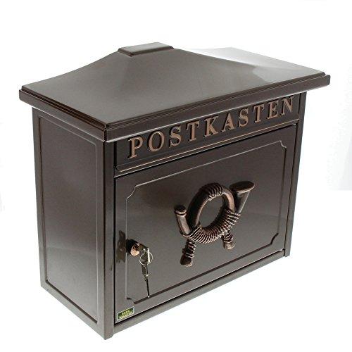BURG-WÄCHTER Klassischer Briefkasten (mit Komfort-Tiefe, A4 Einwurf-Format, Verzinkter Stahl, Sylt 1883 K) kupfermetallic