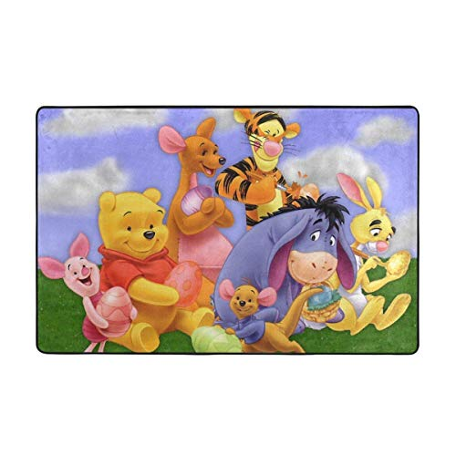 Large Non-Slip Area Rug Winnie Pooh with Friends Cartoon Carpet Living Room Rugs Floor Mat Doormats 60 X 39 Inches