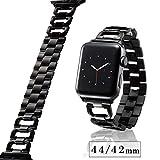 エレコム Apple Watch バンド 44mm / 42mm ステンレス [埋め込まれたラインストーンとシルバーのステンレスが、手首をラグジュアリーに彩る] 工具不要で長さを調整可能 ブラック AW-44BDSSDBK