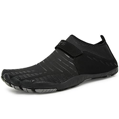 Herren Damen Outdoor Fitnessschuhe Barfußschuhe Trekking Schuhe Badeschuhe Schnell Trocknend rutschfest(Schwarz,43 EU)
